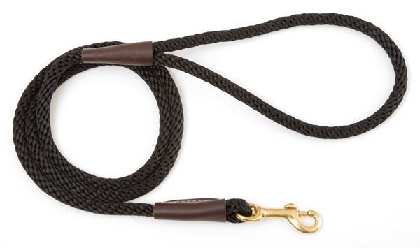 "Mendota Pet Small Snap Leash: Black, 3/8"" x 4'"