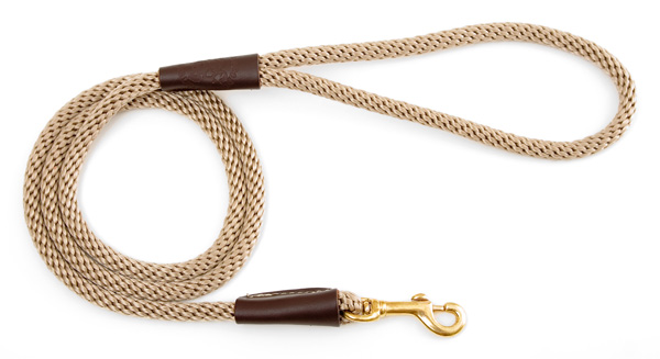 "Mendota Pet Small Snap Leash: Tan, 3/8"" x 4'"