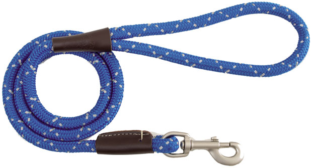 "Mendota Pet Night Viz Reflective Snap Leash: Blue, 1/2"" x 6'"