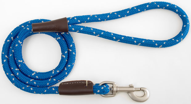"Mendota Pet Night Viz Reflective Snap Leash: Blue, 1/2"" x 4'"
