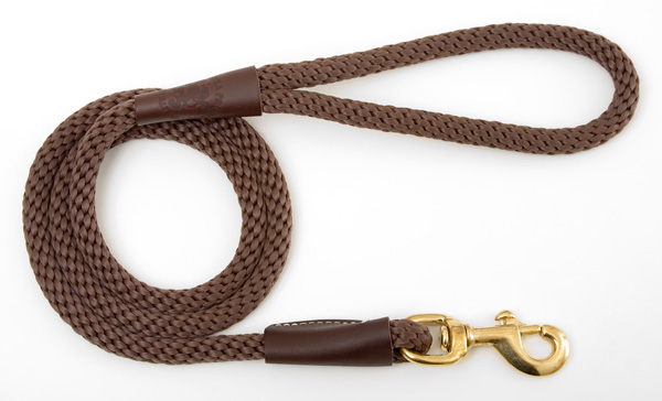 "Mendota Pet Snap Leash: Dark Brown, 1/2"" x 4'"