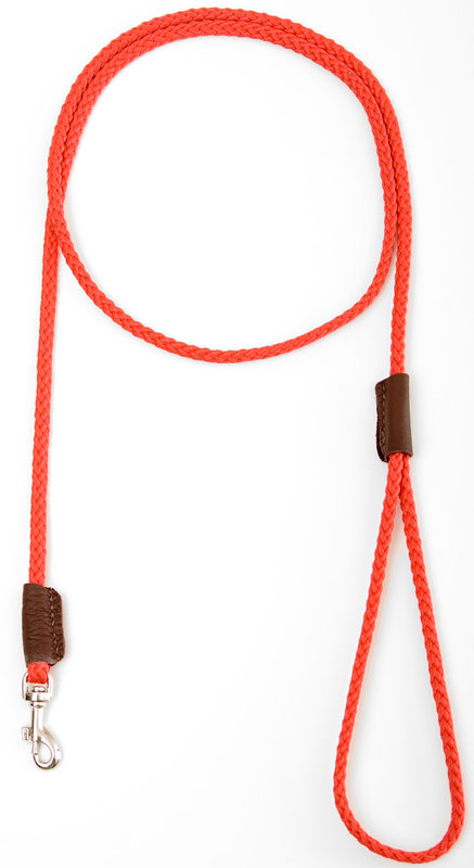 "Mendota Pet British Show Snap Leash: Red, 1/8"" x 4'"