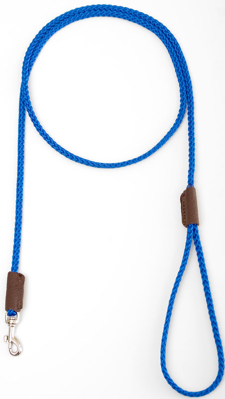 "Mendota Pet British Show Snap Leash: Blue, 1/8"" x 4'"