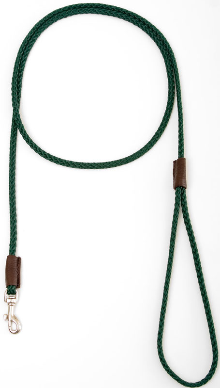 "Mendota British Show Snap Leash: Green, 1/8"" x 4'"