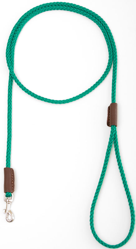 "Mendota British Show Snap Leash: Kelly Green, 1/8"" x 4'"