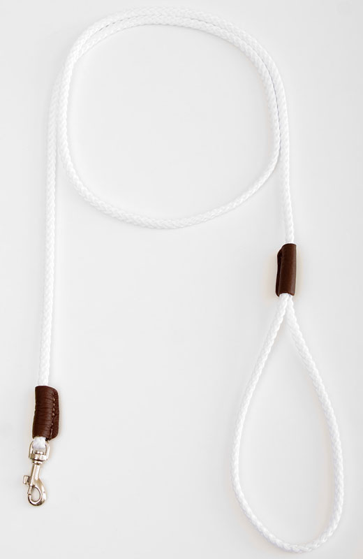 "Mendota British Show Snap Leash: White, 1/8"" x 4'"
