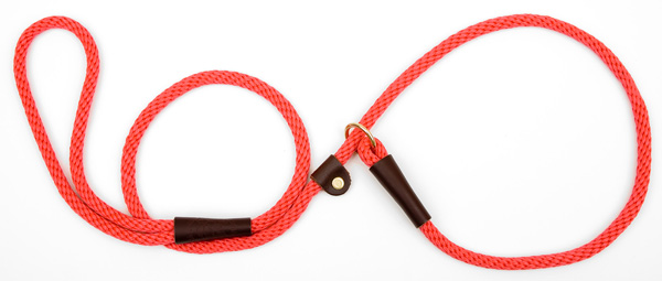 "Mendota Pet British Style Small Slip Lead Rope: Leash and Collar in One, Red, 3/8"" x 4'"