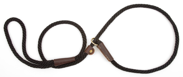 "Mendota Pet British Style Small Slip Lead Rope: Leash and Collar in One, Black, 3/8"" x 4'"