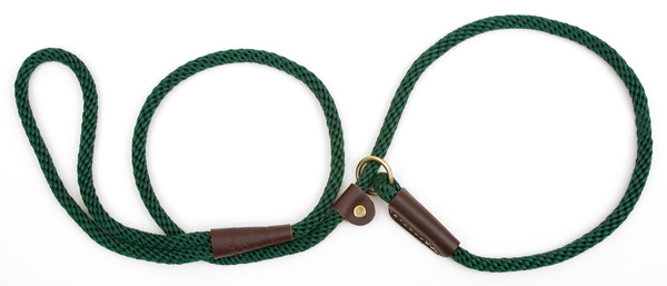 "Mendota Pet British Style Small Slip Lead Rope: Leash and Collar in One, Green, 3/8"" x 4'"