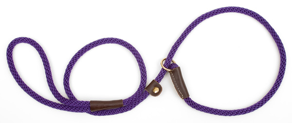 "Mendota Pet British Style Small Slip Lead Rope: Leash and Collar in One, Purple, 3/8"" x 4'"