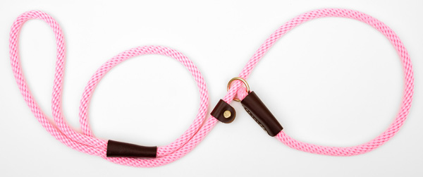 "Mendota Pet British Style Small Slip Lead Rope: Leash and Collar in One, Hot Pink, 3/8"" x 4'"