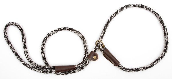 "Mendota™ British Style Small Slip Lead Rope: Leash and Collar in One, Salt & Pepper, 3/8"" x 4'"