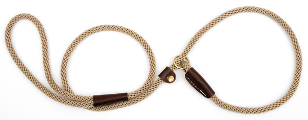"Mendota™ British Style Small Slip Lead Rope: Leash and Collar in One, Tan, 3/8"" x 4'"