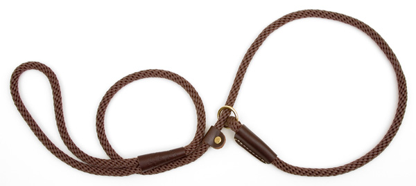 "Mendota Pet British Style Small Slip Lead Rope: Leash and Collar in One, Dark Brown, 3/8"" x 4'"
