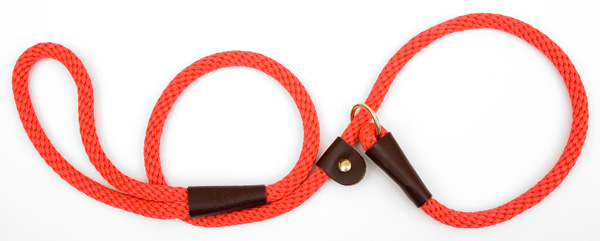 "Mendota™ British Style Slip Lead Rope: Leash and Collar in One, Red, 1/2"" X 4'"