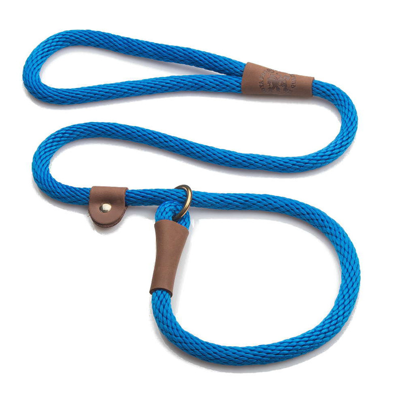 "Mendota Pet British Style Slip Lead Rope: Leash and Collar in One, Blue, 1/2"" X 4'"