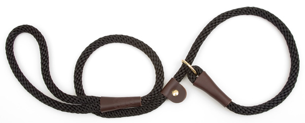 "Mendota Pet British Style Slip Lead Rope: Leash and Collar in One, Black, 1/2"" X 4'"