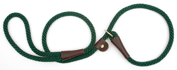 "Mendota Pet British Style Slip Lead Rope: Leash and Collar in One, Green, 1/2"" X 4'"