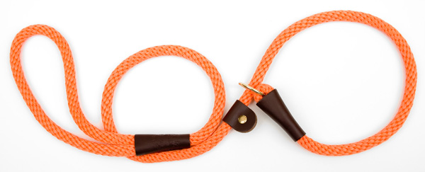 "Mendota™ British Style Slip Lead Rope: Leash and Collar in One, Orange, 1/2"" X 4'"