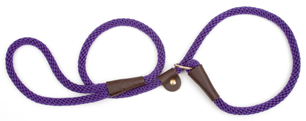 "Mendota™ British Style Slip Lead Rope: Leash and Collar in One, Purple, 1/2"" X 4'"