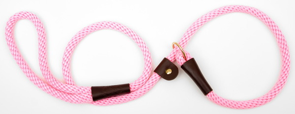 "Mendota™ British Style Slip Lead Rope: Leash and Collar in One, Hot Pink, 1/2"" X 4'"