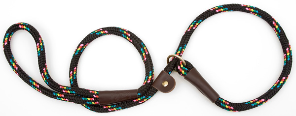 "Mendota Pet British Style Slip Lead Rope: Leash and Collar in One, Black Conf, 1/2"" X 4'"