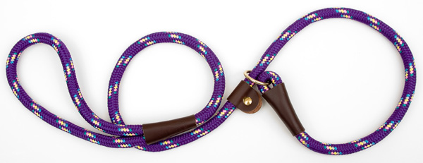 "Mendota Pet British Style Slip Lead Rope: Leash and Collar in One, Purple Conf, 1/2"" X 4'"