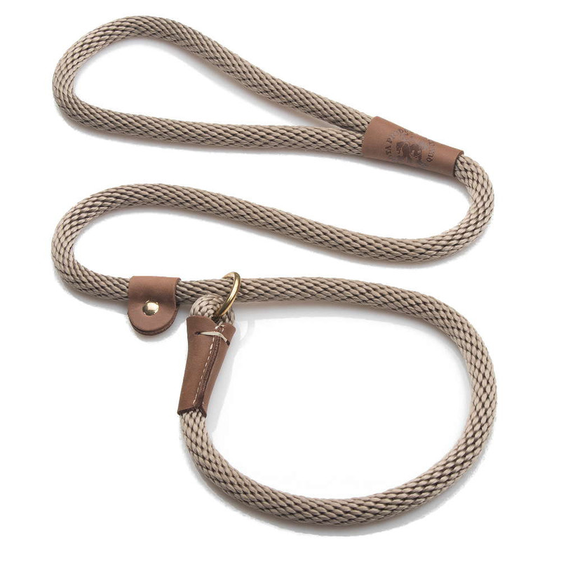 "Mendota Pet British Style Slip Lead Rope: Leash and Collar in One, Tan, 1/2"" X 4'"