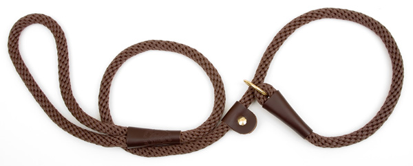 "Mendota Pet British Style Slip Lead Rope: Leash and Collar in One, Brown, 1/2"" X 4'"
