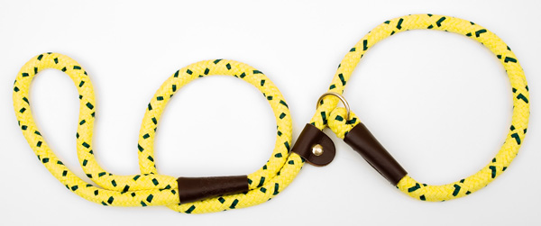 "Mendota Pet British Style Slip Lead Rope: Leash and Collar in One, Hi-Viz Yellow, 1/2"" X 4'"