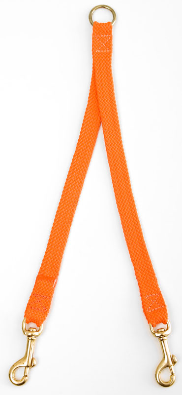 "Mendota Pet Large Breed Dog Coupler: Orange, 2-Dog, 1""w x 28"""