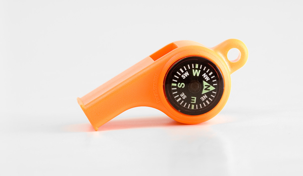 Mendota Sportsman's Whistle with Compass and Temperature Gauge: Orange