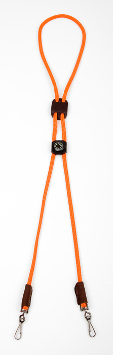 Mendota Pet Whistle Lanyard: Double with Compass, Orange