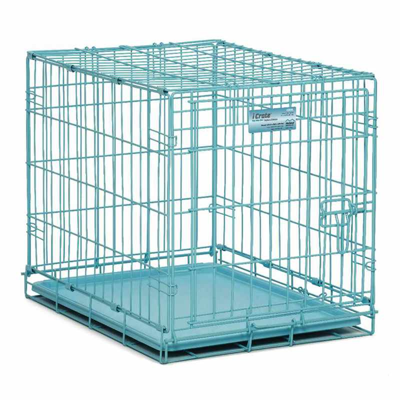 "Midwest iCrate Single Door Dog Crate Blue 24"" x 18"" x 19"""