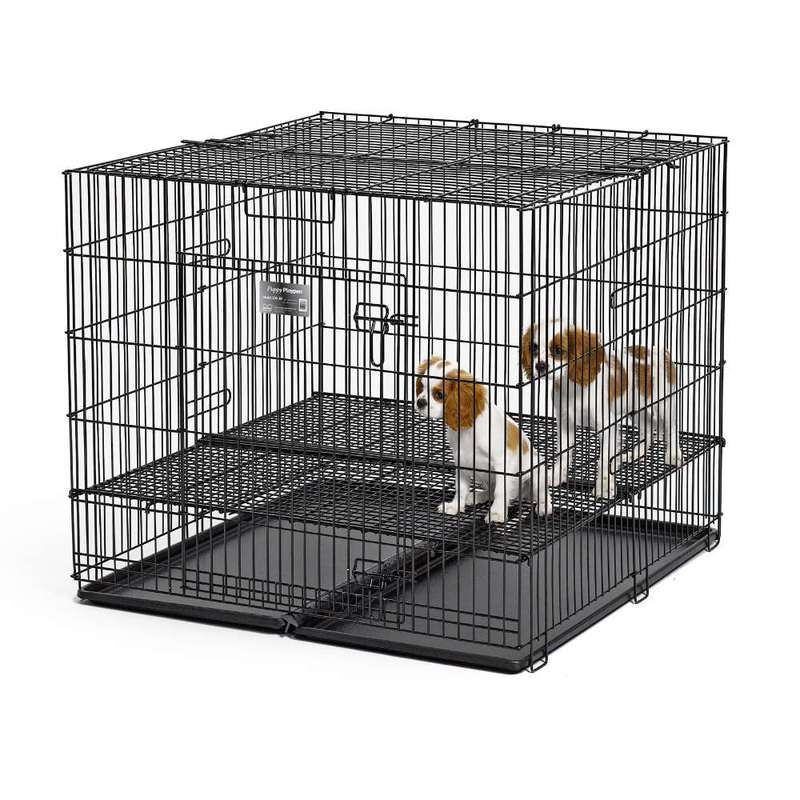 "Midwest Puppy Playpen with Plastic Pan and 1/2"" Floor Grid Black 36"" x 36"" x 30"""