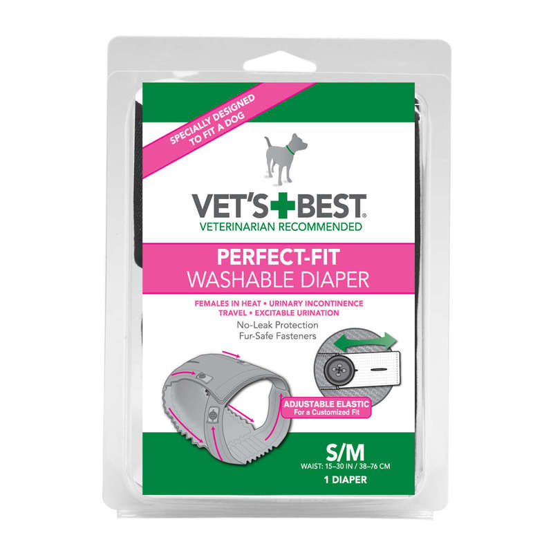 "Vet's Best Perfect-Fit Washable Female Dog Diaper 1 pack Small / Medium Gray 5.44"" x 1.75"" x 7.75"""