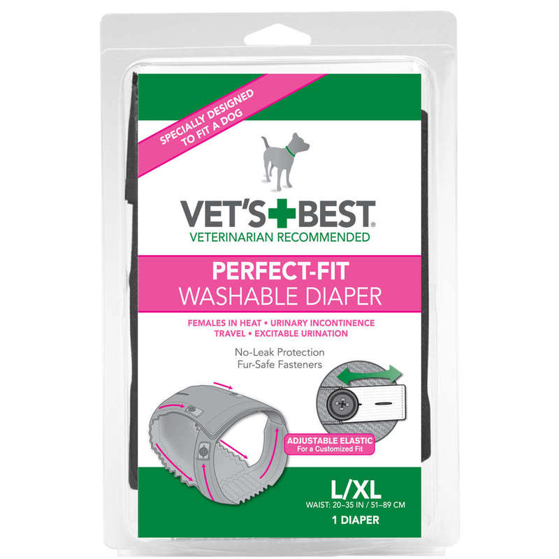 "Vet's Best Perfect-Fit Washable Female Dog Diaper 1 pack Large / Extra Large Gray 6"" x 2.13"" x 9"""