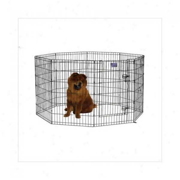 "Midwest Black E-Coat Pet Exercise Pen with Walk-Thru Door 8 Panels Black 24"" x 24"""