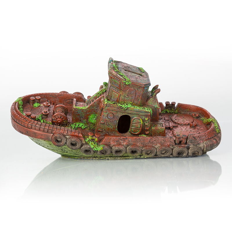 "BioBubble Decorative Sunken Tugboat 12.5"" x 4.25"" x 2.75"""