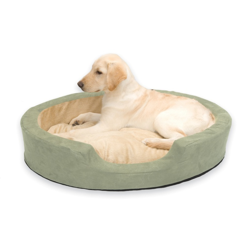 "K&H Pet Products Thermo Snuggly Sleeper Oval Pet Bed Large Sage 31"" x 24"" x 5.5"""