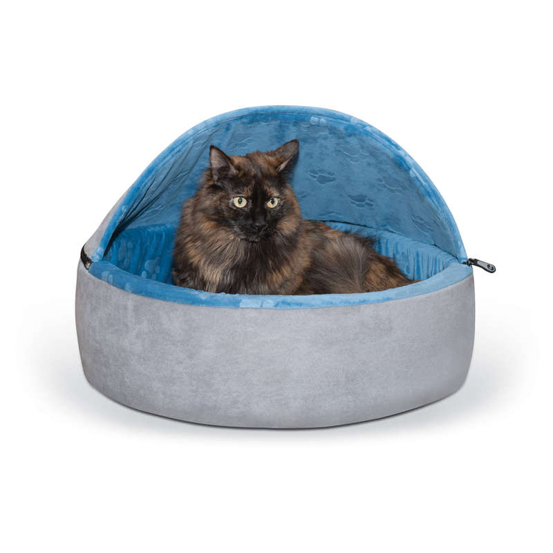 "K&H Pet Products Self-Warming Kitty Bed Hooded Large Blue/Gray 20"" x 20"" x 12.5"""