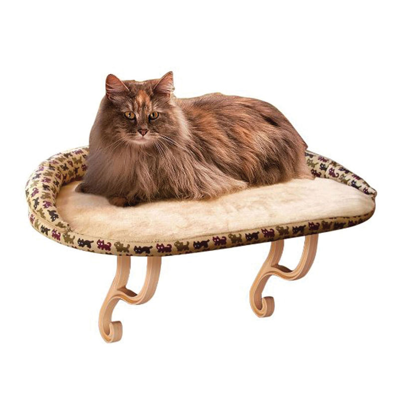 "K&H Pet Products Kitty Sill Deluxe with Bolster Tan 14"" x 24"" x 3"""