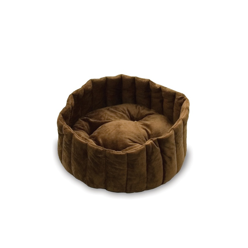 "K&H Pet Products Kitty Kup Bed Large Tan / Mocha 20"" x 20"" x 7"""