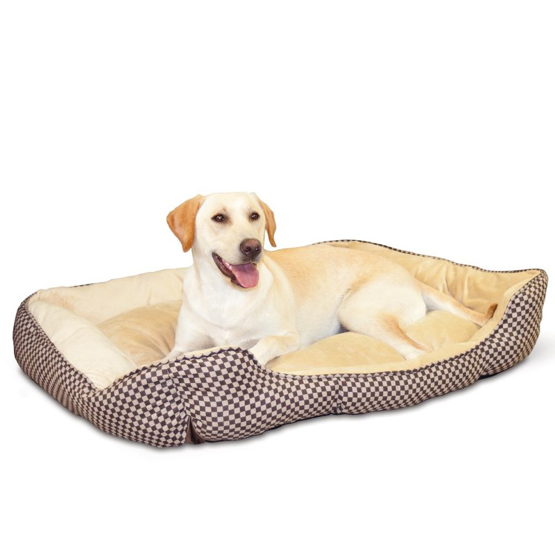 "K&H Pet Products Self Warming Lounge Sleeper Square Pet Bed Large Brown 32"" x 40"" x 10"""
