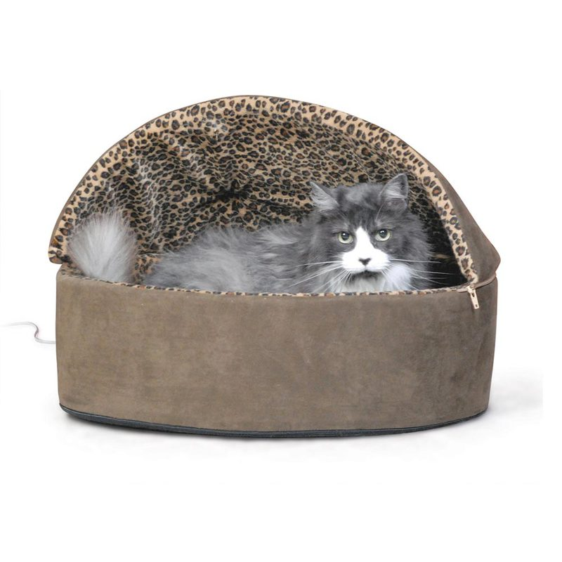 "K&H Pet Products Thermo-Kitty Bed Deluxe Hooded Small Mocha 16"" x 16"" x 14"""