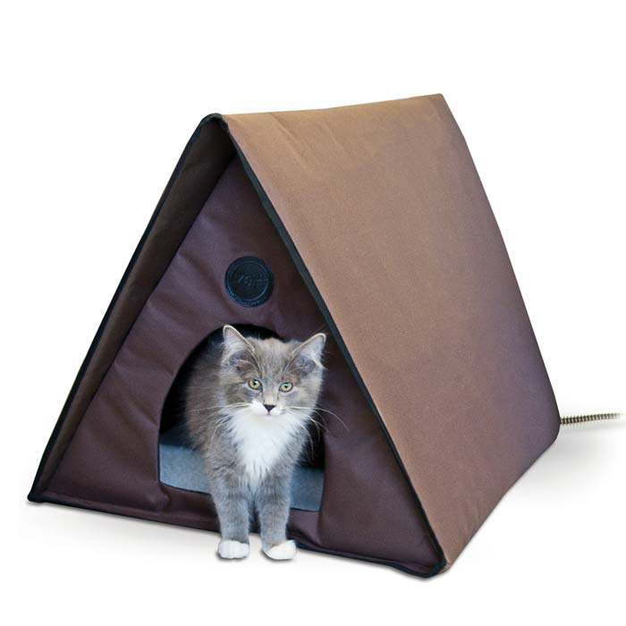 "K&H Pet Products Outdoor Heated Multiple Kitty A-Frame Chocolate 35"" x 20.5"" x 20"""