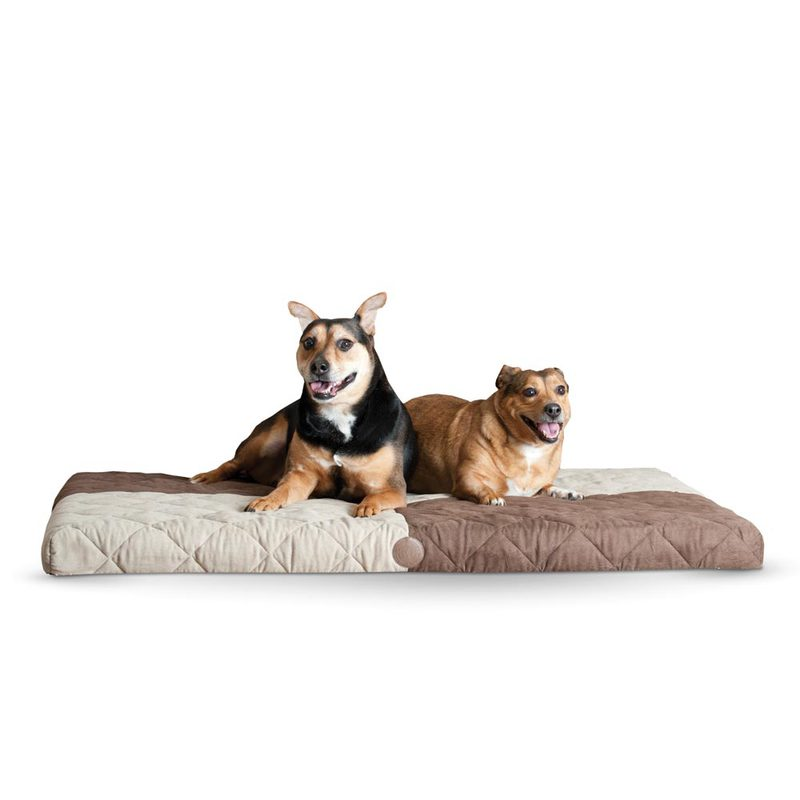 "K&H Pet Products Quilted Memory Dream Pad 0.5"" Small Chocolate / Tan 19.5"" x 25"" x 0.5"""