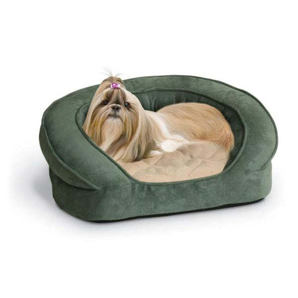 "K&H Pet Products Deluxe Ortho Bolster Sleeper Pet Bed Large Eggplant 40"" x 33"" x 9.5"""
