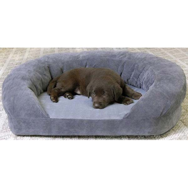 "K&H Pet Products Ortho Bolster Sleeper Pet Bed Small Gray Velvet 20"" x 16"" x 8"""