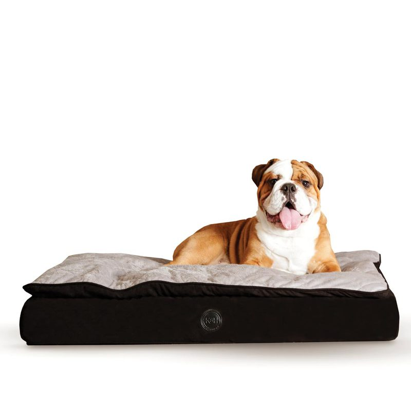 "K&H Pet Products Feather Top Ortho Pet Bed Large Black / Gray 40"" x 50"" x 6.5"""